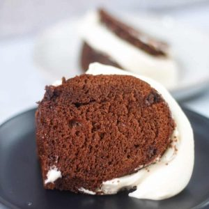 Chocolate bundt cake with cake mix and pudding