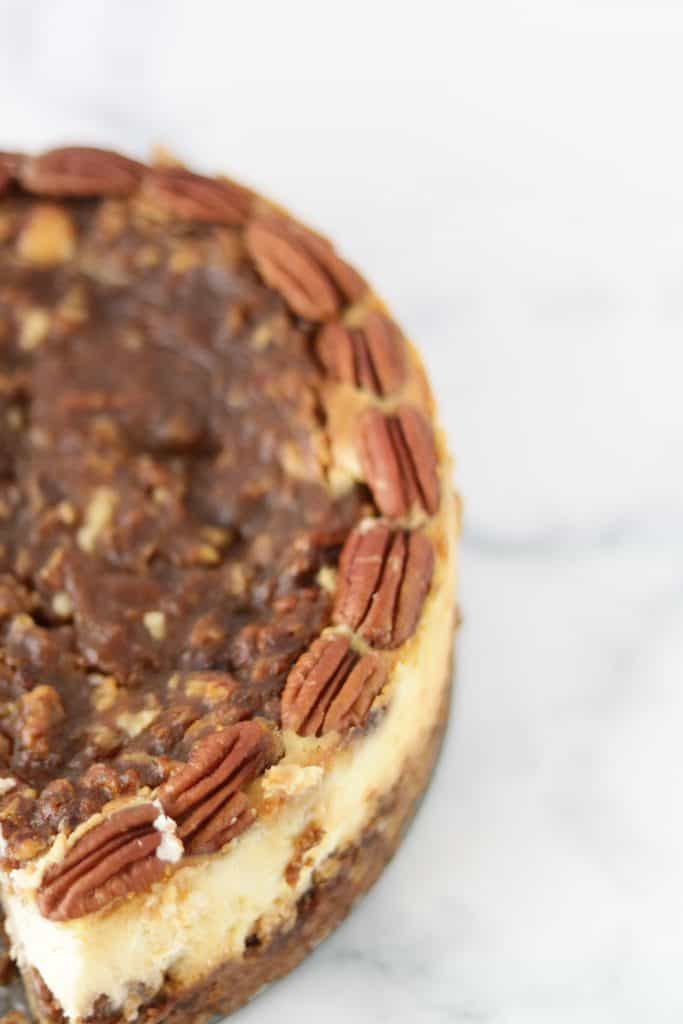 The Philadelphia caramel-pecan cheesecake is to die for . The pecans and caramel are so yummy !