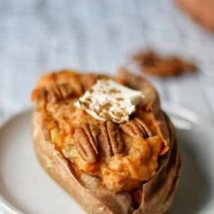 twice baked sweet potatoes with pecans