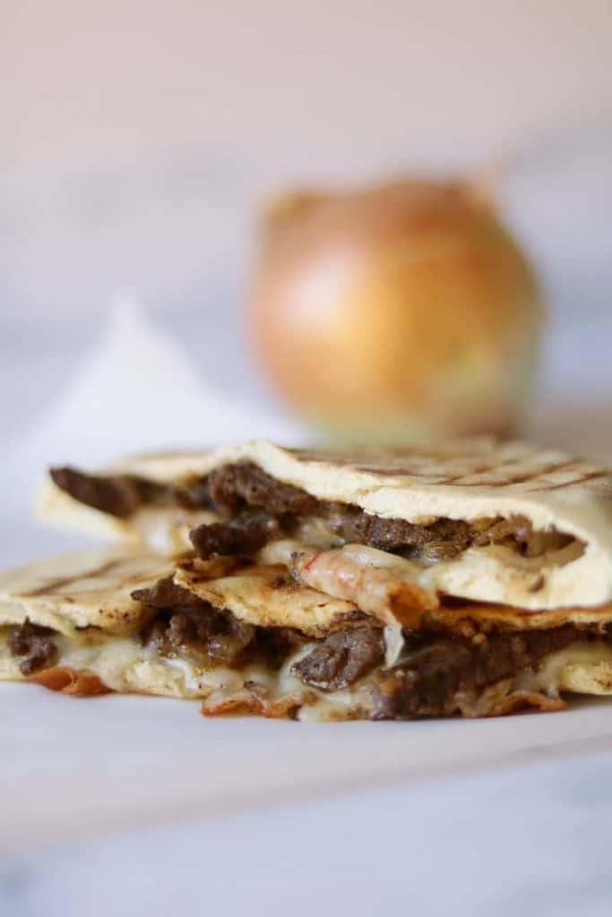 Steak and cheese pita recipe