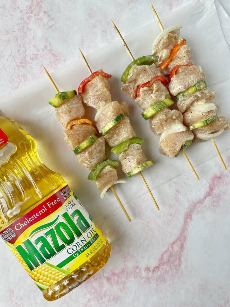chicken kabobs with wooden skewers